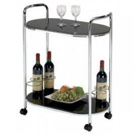 Konferenční stolek Bar 3 (Sklo černé/Nohy chrom)