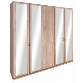 Cassanova - Šatní skříň (1x dveře, 4x dveře se zrcadlem)