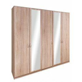 Cassanova - Šatní skříň (3x dveře, 2x dveře se zrcadlem)