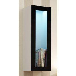 Vigo - Vitrína závěsná, 1x dveře sklo (bílá mat/černá VL)