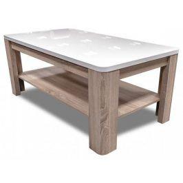 Konferenční stolek Attention FLOT12 (bílý/dub sonoma/bílý lesk)