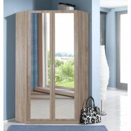 Rohová skříň Sprint - 175 cm,2x zrcadlo (dub hrubá struktura)