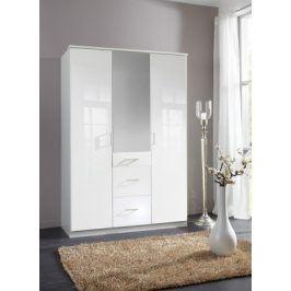 Clack - Skříň, 3x dveře, zrcadlo (bílá, bílá)