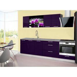 Kuchyňská linka Emilia 2  A - 260cm (fialová, titan, orchidej)