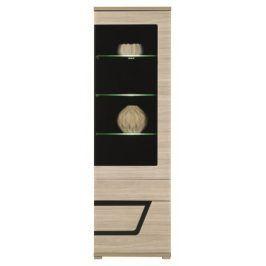 Tes - Vitrína pravá, dveře, police, LED (jilm, korpus a fronty)