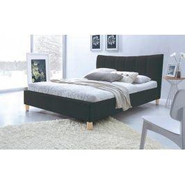 Čalouněná postel Phily - 160x200, rám, rošt (černá/nožky buk)