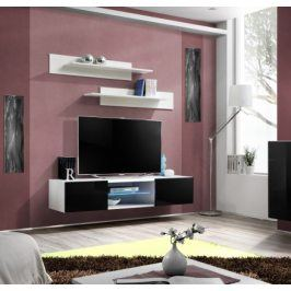 Fly - RTV, 1x dveře, 1x police, LED (bílý mat/černý lesk)