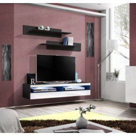 Fly - RTV, 1x dveře, 2x police, LED (černý mat/bílý lesk)