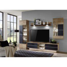 Alberto - Obývací stěna,osvětlení (dub wotan/dub wotan,černá)