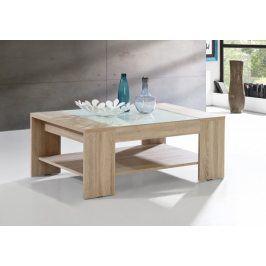 Konferenční stolek Brandy  (dub sonoma, bílé sklo)