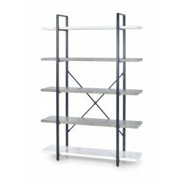 Regál Stonno - vysoký (bílá/beton)