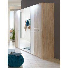 Pamela - Šatní skříň 225x210, klasické dveře (dub,sklo,chrom)