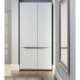 Leone - Skříň, 2 dveře (dub trufel, bílá lesk)