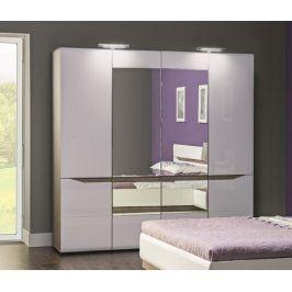 Leone - Skříň, 4 dveře, zrcadlo (dub trufel, bílá lesk)