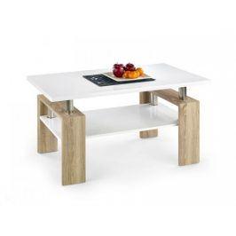Konferenční stolek Diana (deska a police:bílá/nohy:dub sonoma)