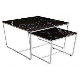 Konferenční stolek Stella - set 2 ks, stohovatelné (chrom/černá)