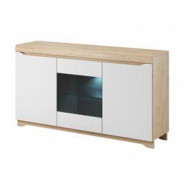 Obývací komoda Avallon - 3 dvířka (buk ibsen/bílá)