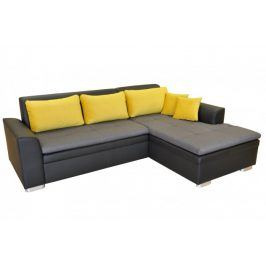 Rohová sedačka rozkládací Vanilla pravý roh ÚP černá šedá, žlutá