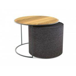 Konferenční stolek s taburetem Modern (hnědá, šedá)