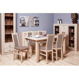 Jídelní set AGA - 6x židle, 1x rozkládací stůl (sonoma/látka)