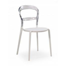 Jídelní židle K100 bílá, transparentní