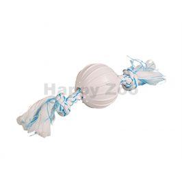 Hračka FLAMINGO guma TPR - Canine Clean nylonový míč s uzlem