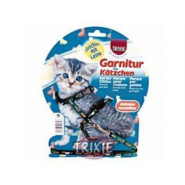 Postroj s vodítkem pro kotě TRIXIE s motivem koček 21-34x0,8cm (