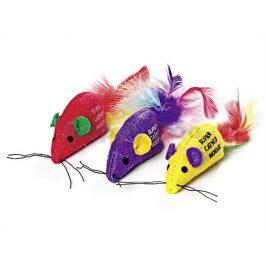 Hračka pro kočky FLAMINGO - barevná myš s peřím a catnipem 6cm (