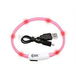 Svítící obojek FLAMINGO Visio Light růžový s LED diodami 35cm (u