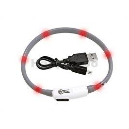 Svítící obojek FLAMINGO Visio Light šedý s LED diodami 35cm (upr