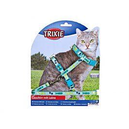 Postroj s vodítkem pro kočku TRIXIE s motivem rybí kosti 22-36x1