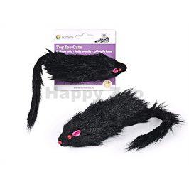 Hračka pro kočky TOMMI - černá chlupatá myš 15cm