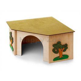 Dřevěný domek JK rohový pro králíky 27x27x15cm