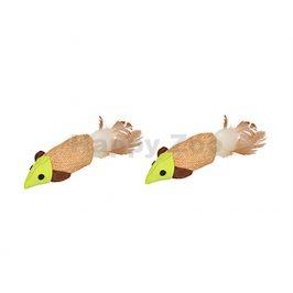 Hračka pro kočky FLAMINGO - myš jutová 16cm (2ks)