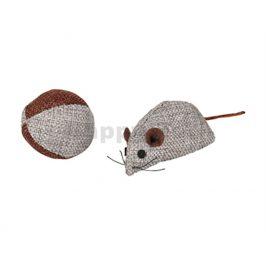 Hračka pro kočky FLAMINGO - Juns myš a míček šedý 8cm