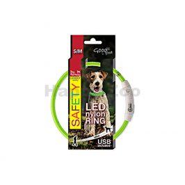Svítící obojek DOG FANTASY LED nylonový zelený (S-M) 45cm