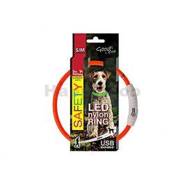 Svítící obojek DOG FANTASY LED nylonový oranžový (S-M) 45cm