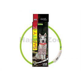 Svítící obojek DOG FANTASY LED nylonový zelený (M-L) 65cm
