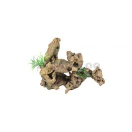 Akvarijní dekorace FLAMINGO - Dio kořeny s rostlinami 30x12x27cm
