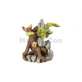 Akvarijní dekorace FLAMINGO - Dio kořeny s rostlinami 14x12x20cm