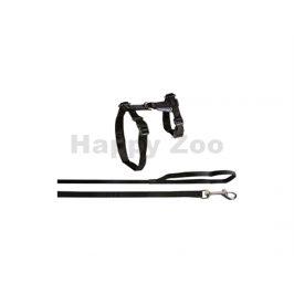 Postroj s vodítkem pro kočku FLAMINGO černý (L) 1,2x32/56cm