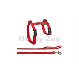 Postroj s vodítkem pro kočku FLAMINGO červený (L) 1,2x32/56cm
