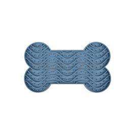 Lízací podložka FLAMINGO Yummee ve tvaru kosti modrá (M) 22x13x2