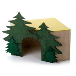 Dřevěný domek JK rohový les pro králíky (č.3) 20x20x19cm