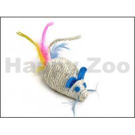 Hračka pro kočky JK - sisalová myška chrastící s peřím 10cm