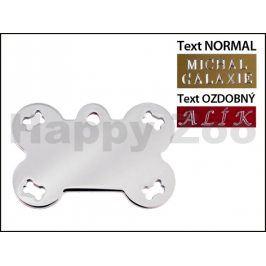QUICK TAG gravírovací známka - chromová kost s výřezy kostiček (