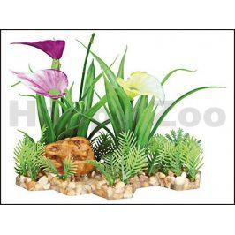 Dekorace TRIXIE - rostlina s květy na skalce 18cm