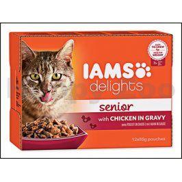 Kapsička IAMS Senior Delights Chicken in Gravy Multipack (12x85g