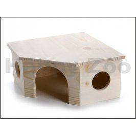 Dřevěný rohový domek JK rohový pro králíky 26x26x13cm