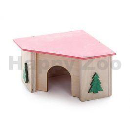Domek dřevěný JK rohový barevný pro křečky 11x11x7cm